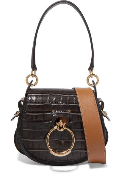 081f78d7d555a CHLOÉ Tess small croc-effect leather and suede shoulder bag ...