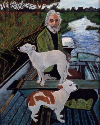 """Look at this.  It's beautiful.  One dog goes one way and  the other goes the other.  One's facing east, the other west.  He's saying, """"Whaddya want from me?""""  The guy's got a nice head of white hair.  Beautiful. The dog looks the same.  Looks like someone we know.  Without the beard. It's him. It's him."""