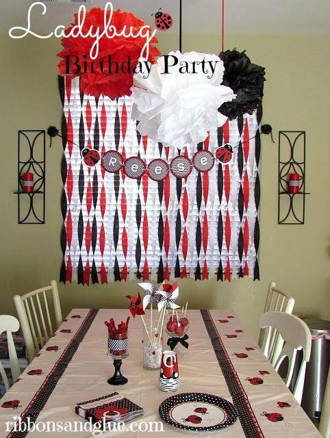 Ladybug Birthday Party Lady bugs Ladybug and Banners