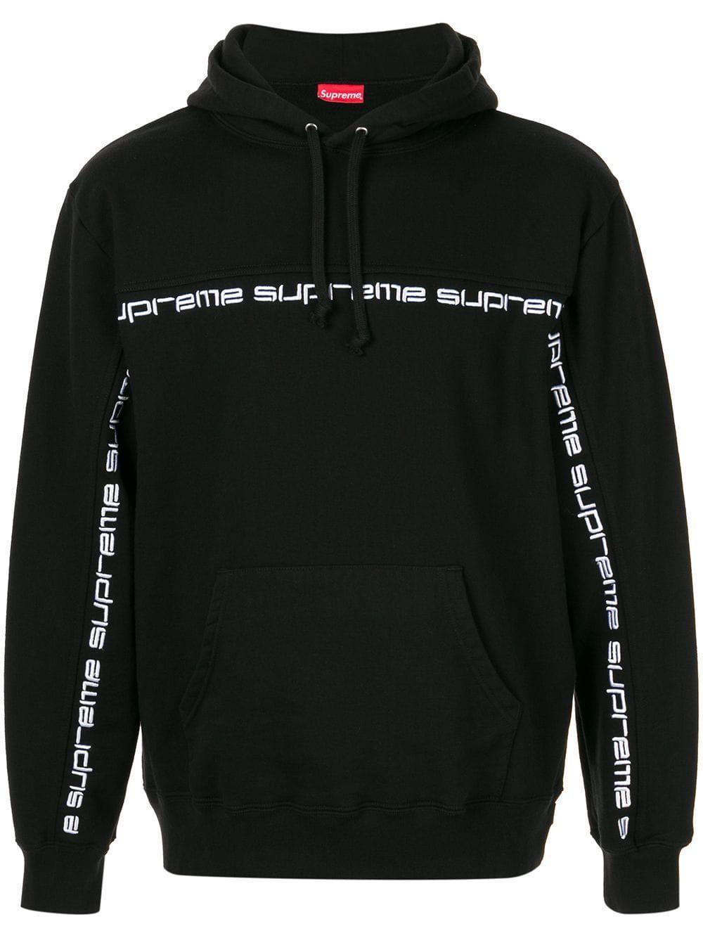 Supreme Text Stripe Hooded Sweatshirt Farfetch Hooded Sweatshirts Supreme Sweatshirt Sweatshirts [ 1334 x 1000 Pixel ]