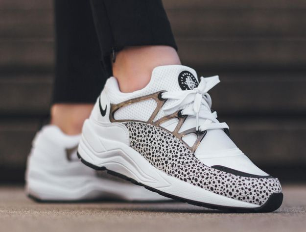 timeless design 233b9 5b3c6 First look at the Nike Air Huarache Light SAFARI, a classic-meets-cult  classic pairing. Black-con-silver Safari print is added to a white leather .