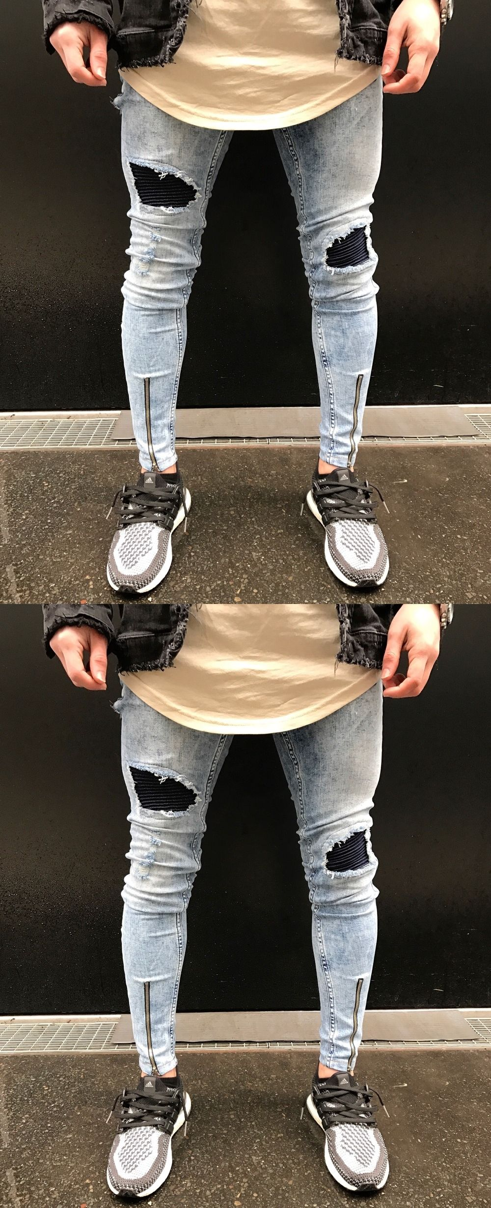 4eaf607597597 2018 New Dropshipping Men Jeans Stretch Destroyed Ripped Design Hip Hop  Holes Fashion Ankle Zipper Skinny