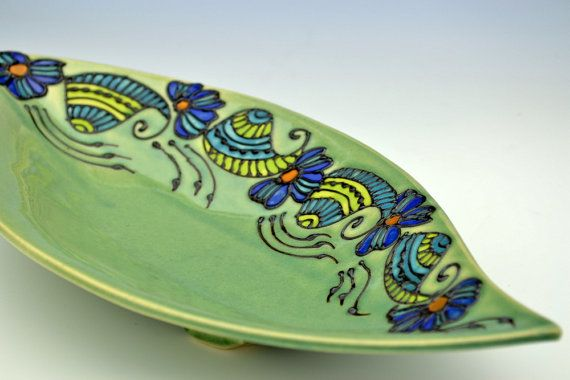 Leaf Shape Green Serving Platter Bowl by Creativewithclay
