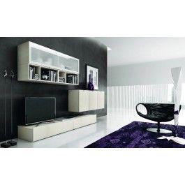 Mobile soggiorno design L 370 cm con basi sospese e vasitas in vetro ...