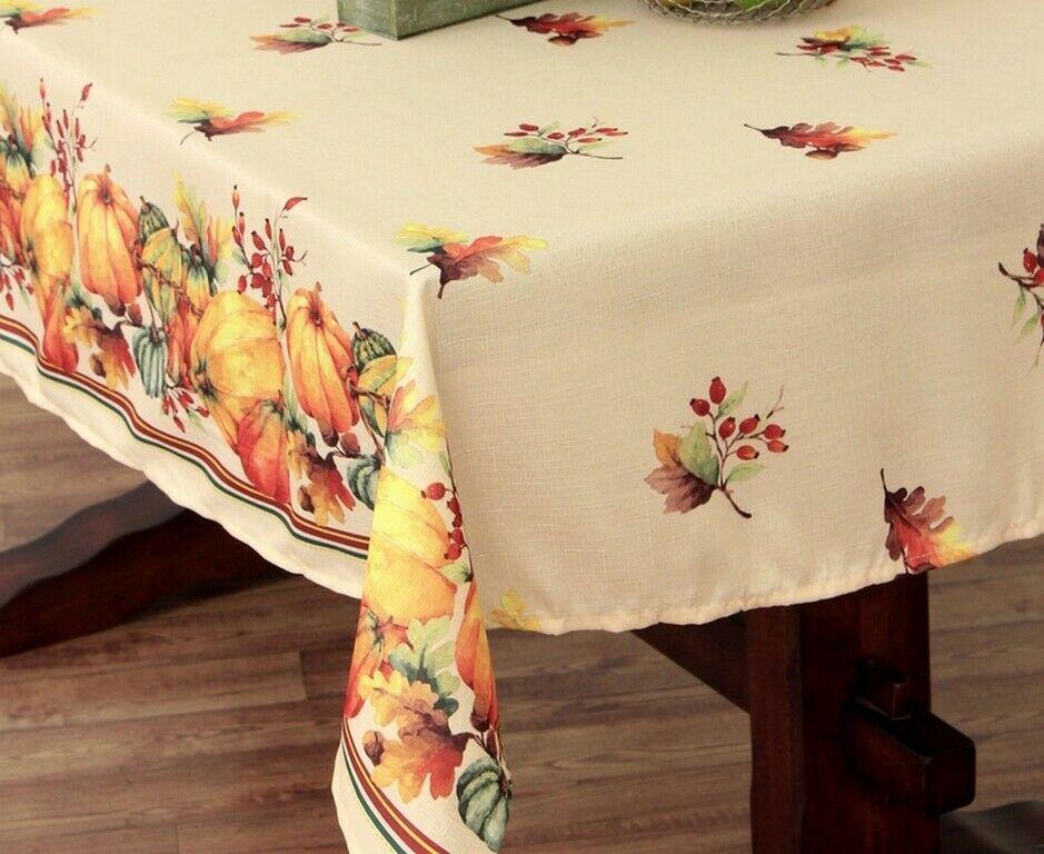 """Genesis Leaf Fabric Tablecloth Thanksgiving Fall 60x84/"""" Oval or 60 RD U Choose"""