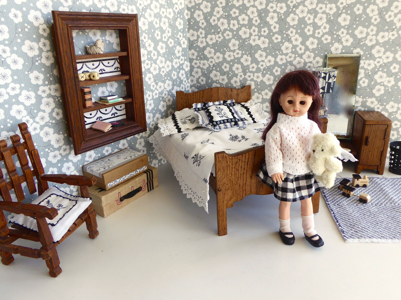 Handmade, Monochrome ART DECO BEDROOM for all 6-8.5in/15-22cm dolls like Amana Jane,Betsy, Ginny, Lottie, Mini American Girl, Riley Kish