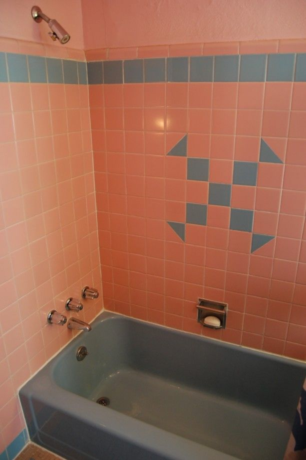 TILING: 1950s Pink And Blue Bathroom. Could Do A Feature Pattern Like This  But In Black On White??