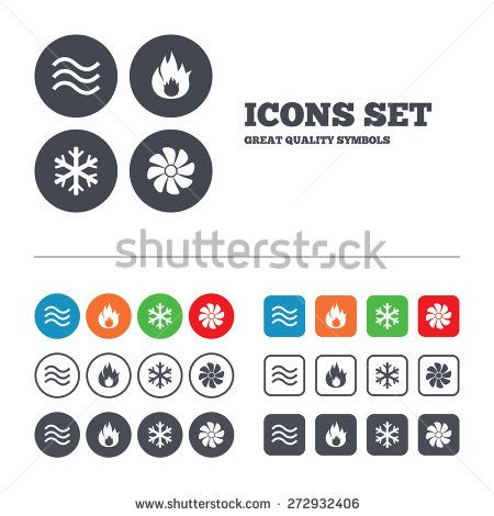 HVAC icons. Heating, ventilating and air conditioning symbols. Water ...
