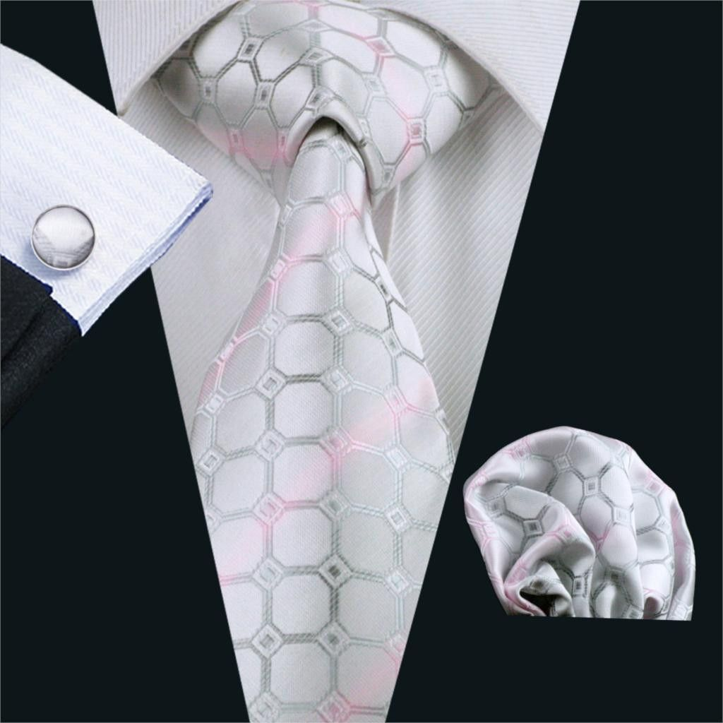 Grey Geometric Mens Tie Silk Necktie Business Jacquard Woven Set Classic SN-1147