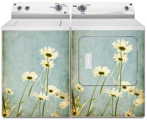 Daisy Flowers Washer And Dryer Magnet Covers Skins Panels Washing And Drying Machine Covers For Utility Wash Washer And Dryer Dishwasher Cover Laundry Art