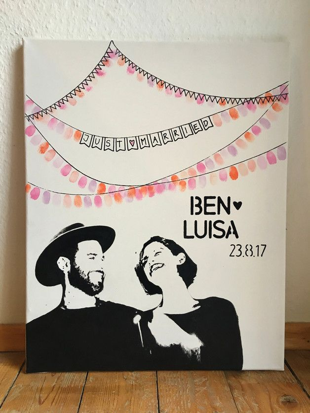 Personalisierter Wedding Tree mit Porträt auf Leinwand für Hochzeit // Geschenke für Hochzeit // Gastgeschenk //Fingerabdruck Hochzeit #personalizedwedding