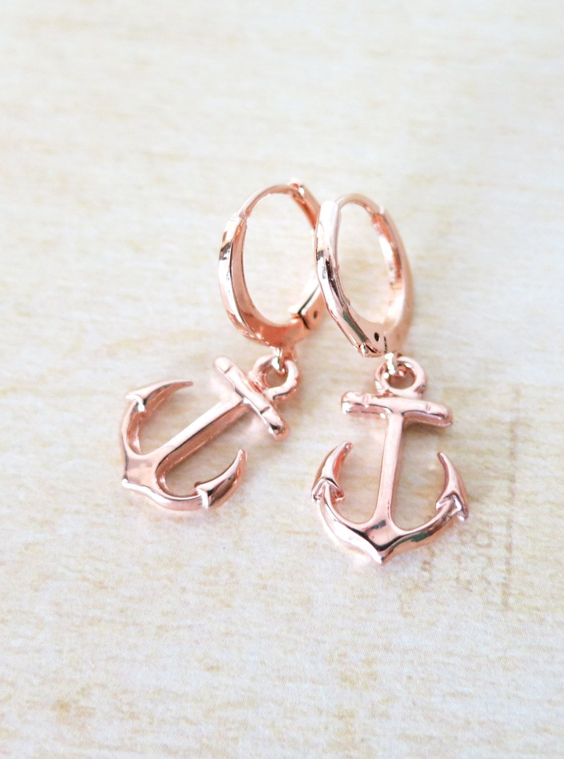 Simple Rose Gold Anchor Earrings Everyday pretty Silver anchor