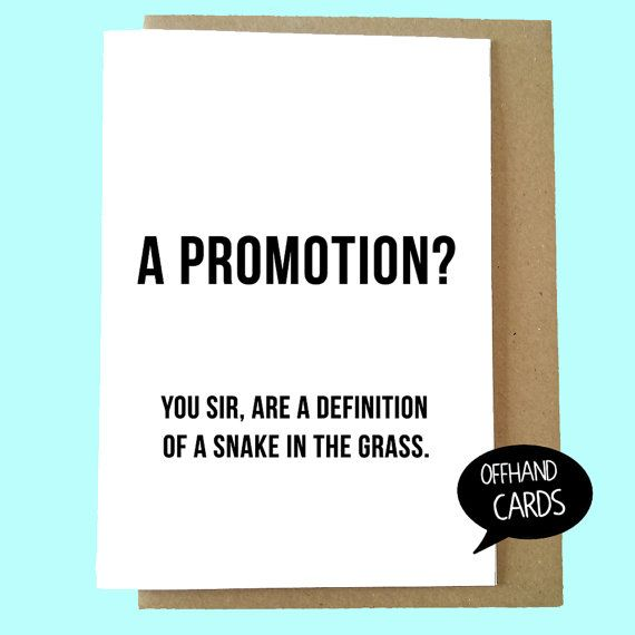 Funny Congratulations Card Promotion at work Rude by OffhandCards - job promotion announcement