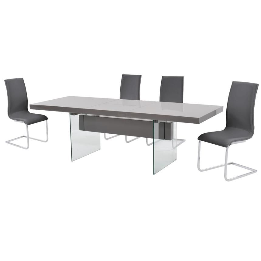 Uphold standards of excellent design via the Vetro/Fishmere Extendable Dining Set. Tempered glass is supported with a trestle base that anchors a gray high gloss finish tabletop and two sturdy legs as well as one self-storing butterfly leaf. Leatherette chairs are ergonomically crafted to seat all guests in ultimate comfort.