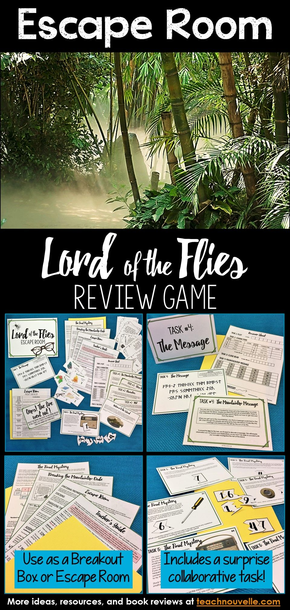 Lord Of The Flies Escape Room Review Activity Lord Of The Flies