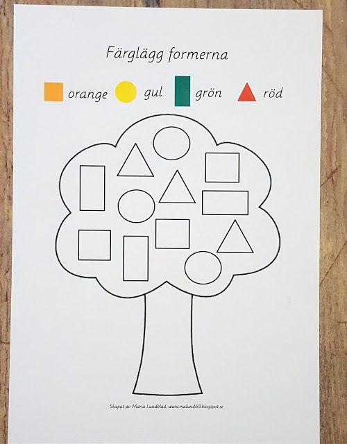 Gratis material till förskola: Färglägg höstlöv oc