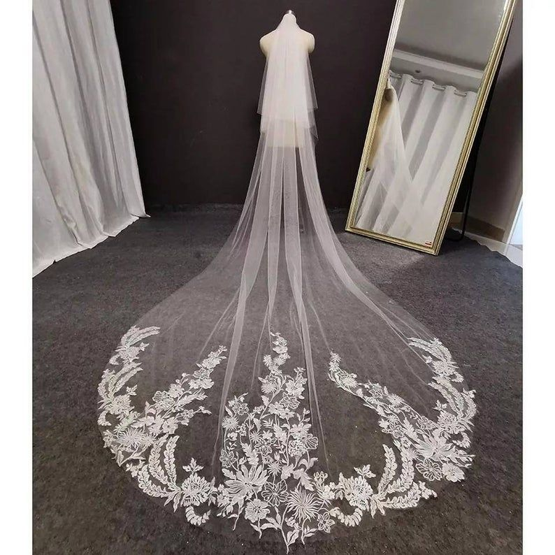 Chapel Brides Veil With Embroidery Ivory Wedding Veil Ivory Etsy In 2020 Ivory Wedding Veils Bride Veil Ivory Bridal Veil