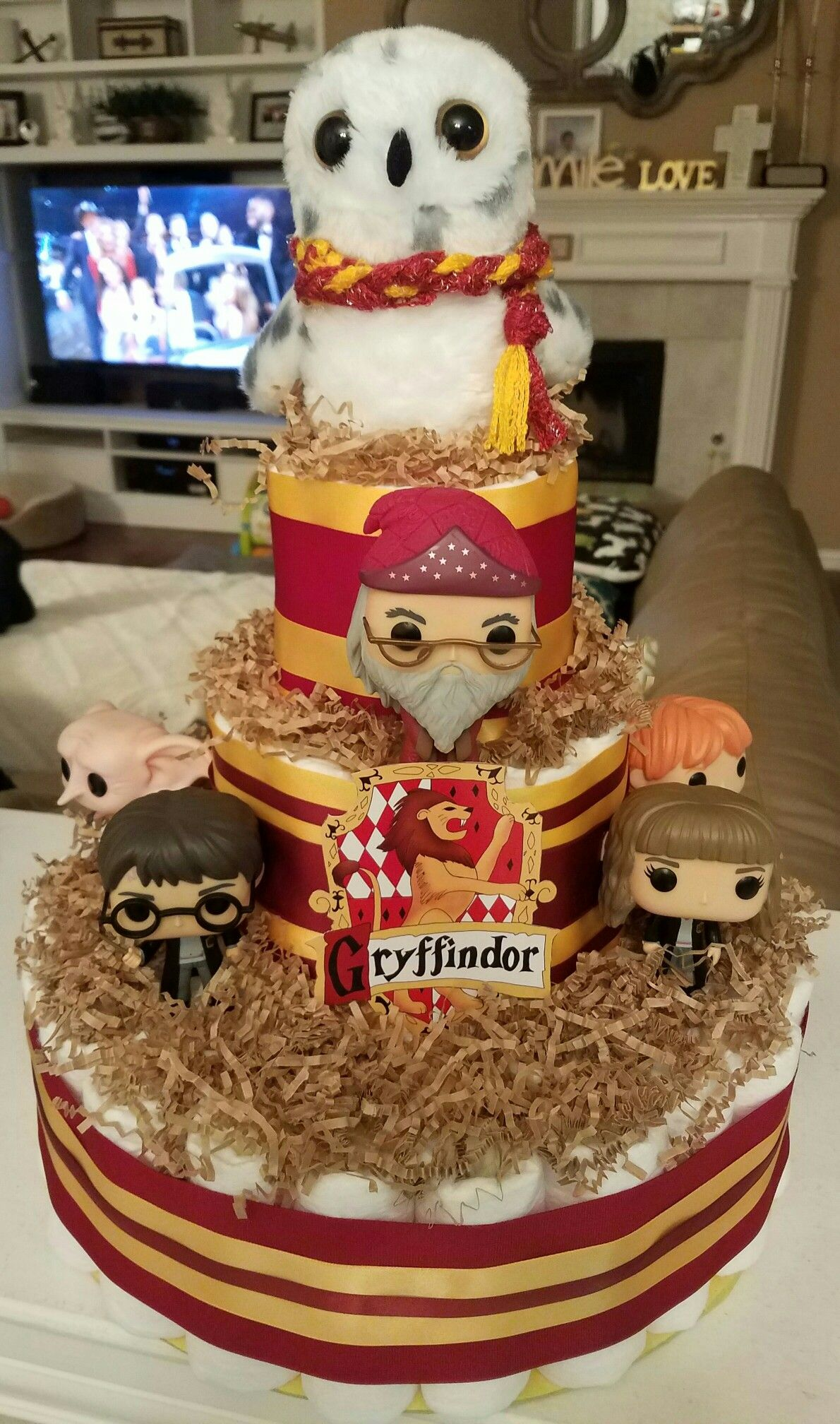 Harry Potter Gryffindor Diaper Cake Red And Yellow Snow Owl · Harry Potter  Baby ShowerDiaper ...