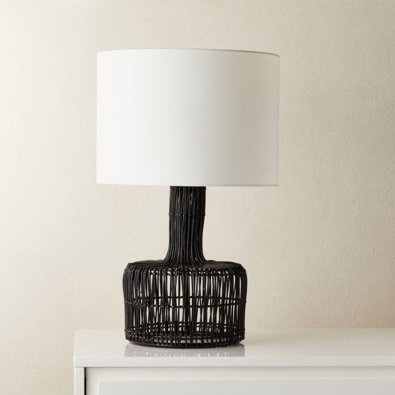 Shop Wicker Black Table Lamp Boho Is Back In Black Wicker Table Lamp Features A Rounded Base And Long Neck Tha Black Table Lamps Table Lamp Modern Table Lamp