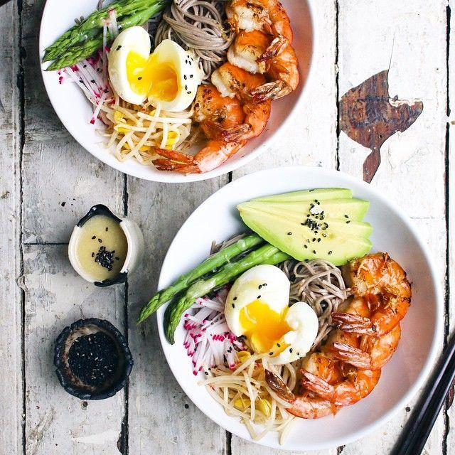Fresh Soba Noodle Bowl With Garlic Shrimp & Miso Dressing