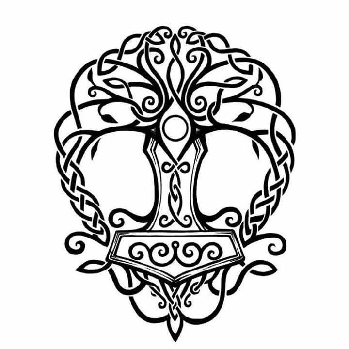 Arbre De La Vie Mjolnir Tatouage Yggdrasil Symboles Des