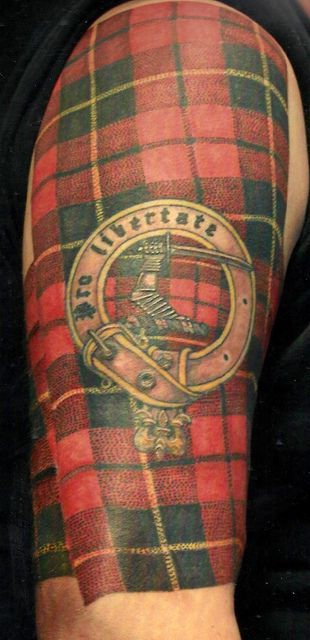Pro libertate! Clan Wallace tartan with clan badge tattoo by Scottie DeVille of Th'Ink Tank Tattoo.