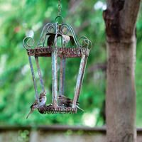 old lantern into birdfeeder