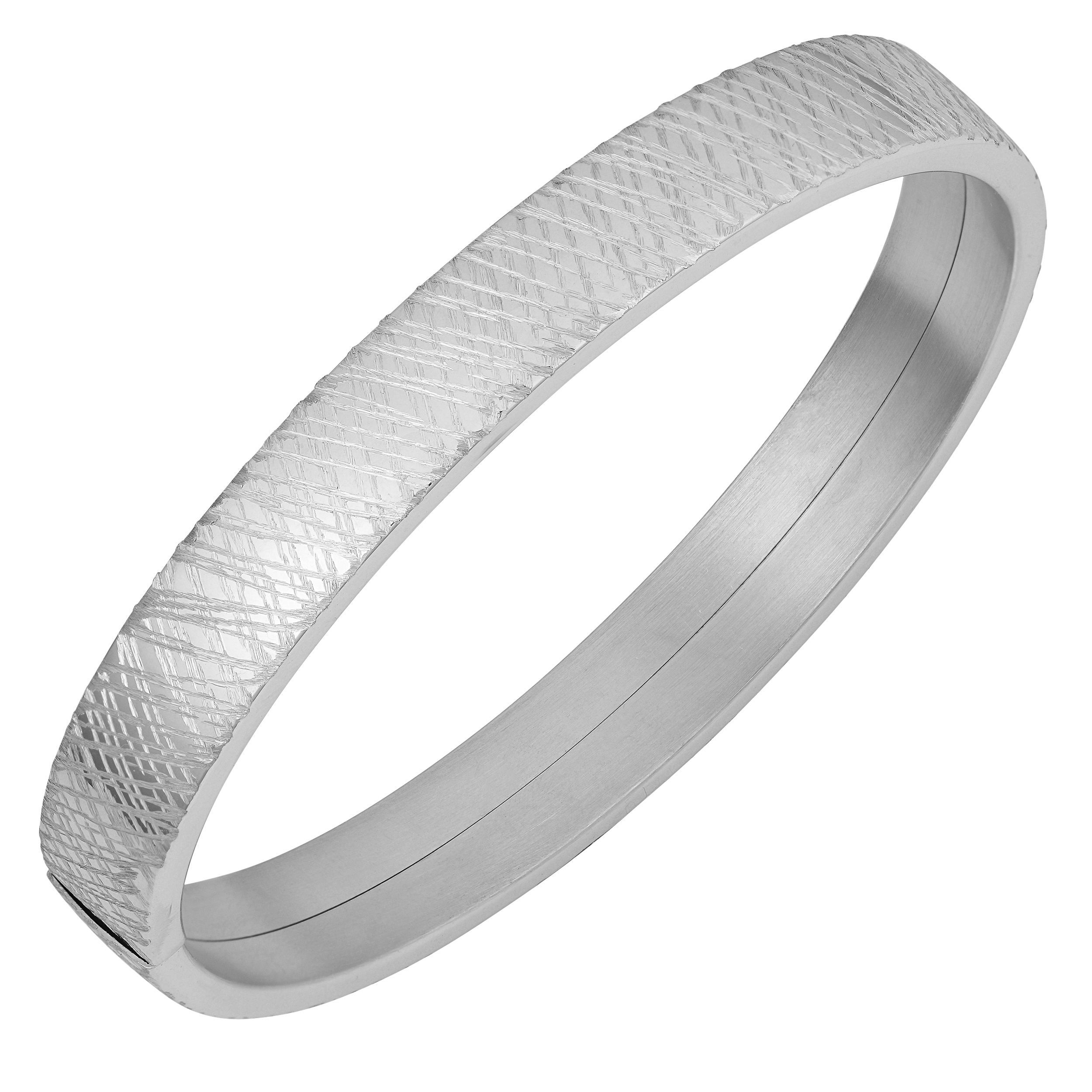 Fremada rhodium plated sterling silver scribble design surface
