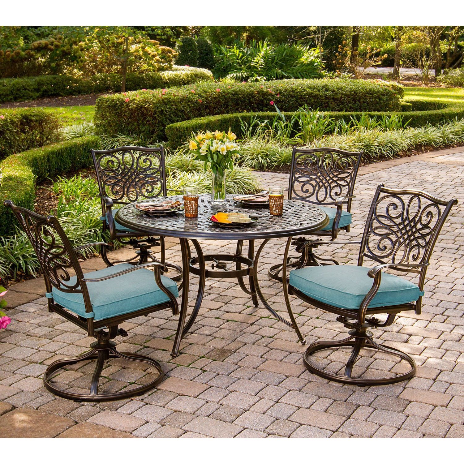Cambridge Seasons 5-Piece Dining Set with Four Swivel Rockers (Blue ...
