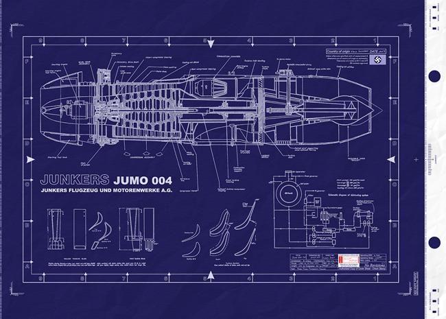 Pulse Jet Thrust Engine Patent Print Blueprint