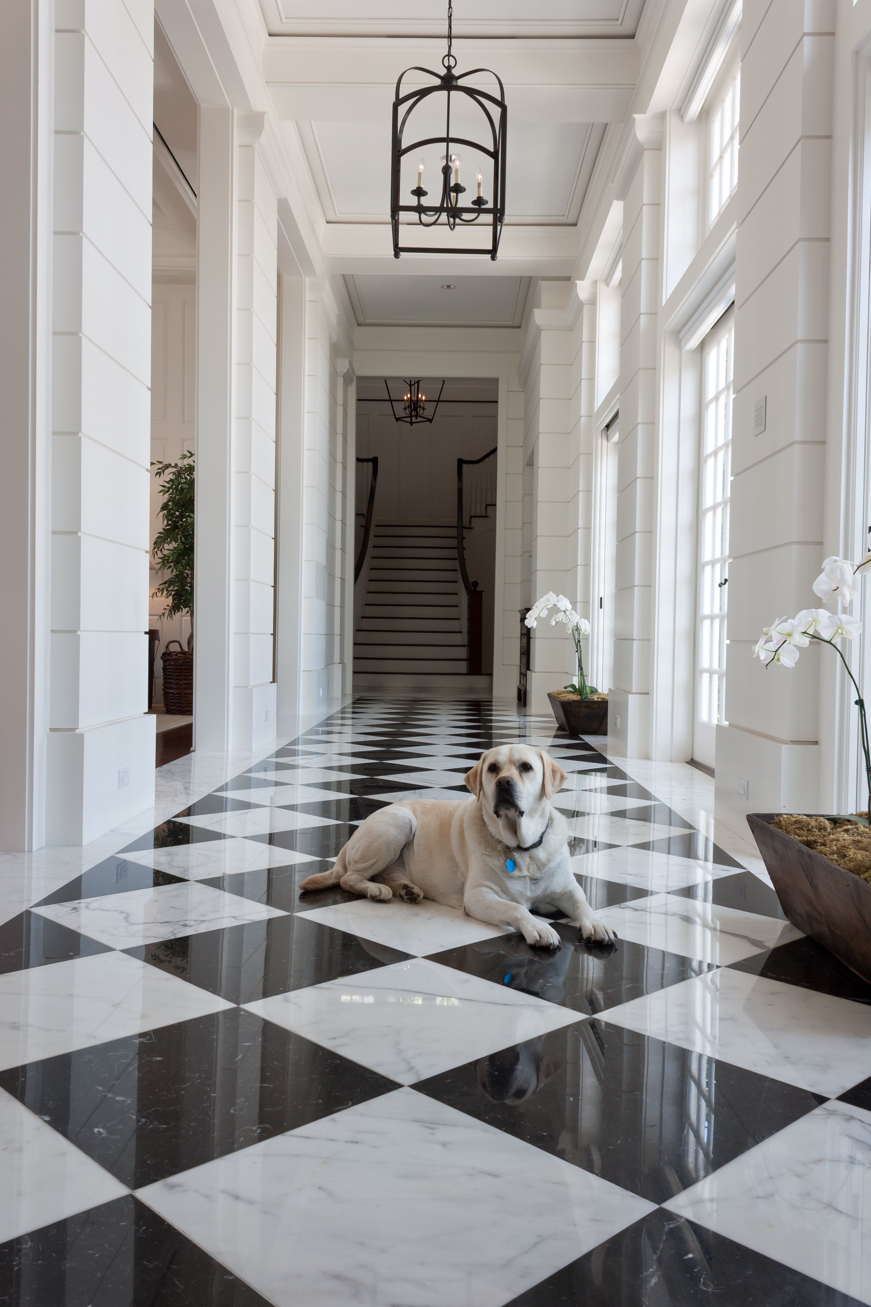 Formal Black And White Marble Entry White Marble Floor Marble House Black And White Hallway