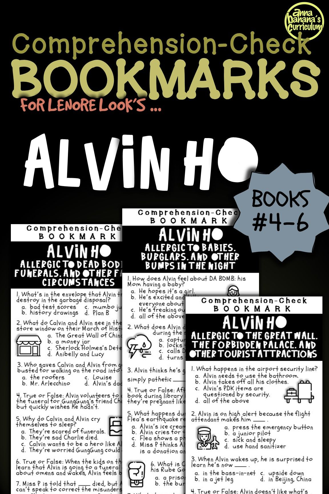 Alvin Ho Series Books 4 6 Comprehension Check Bookmarks