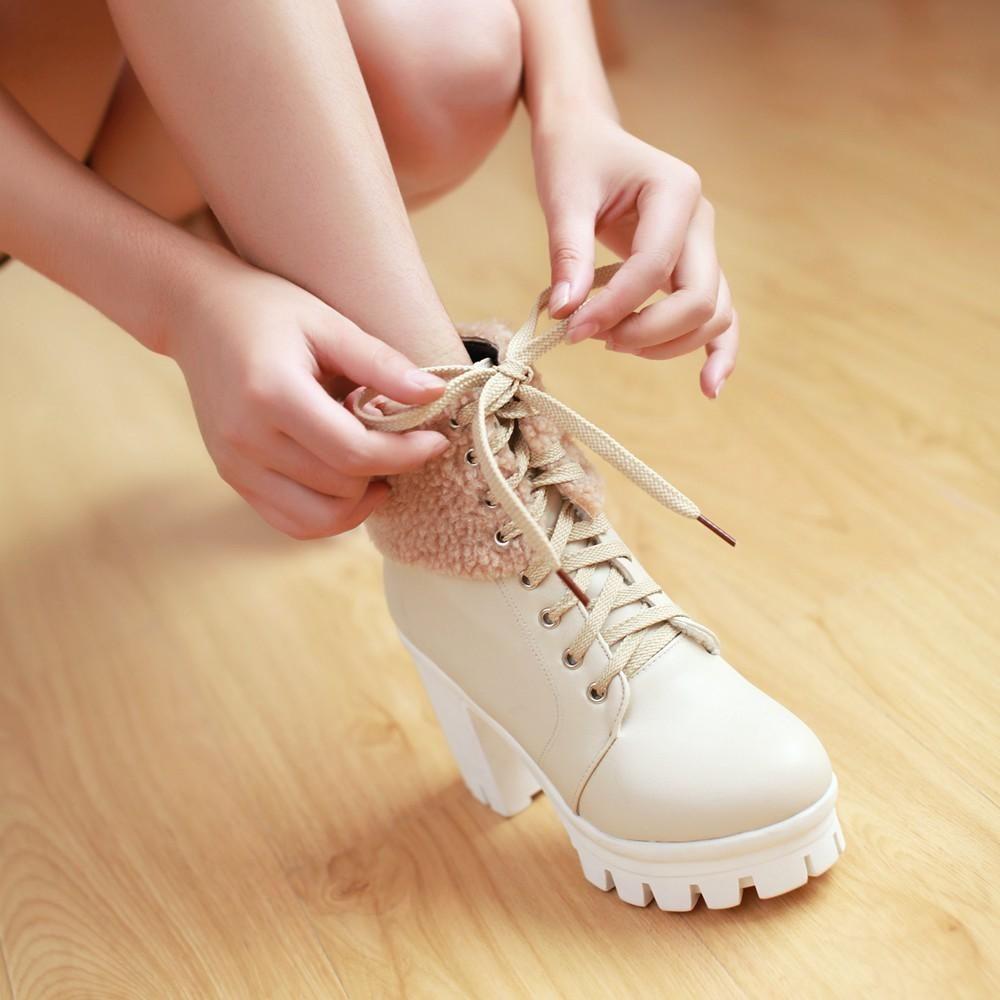 Lace Up Platform Chunky Heels Short Boots Plus Size Women Shoes 8666 ...