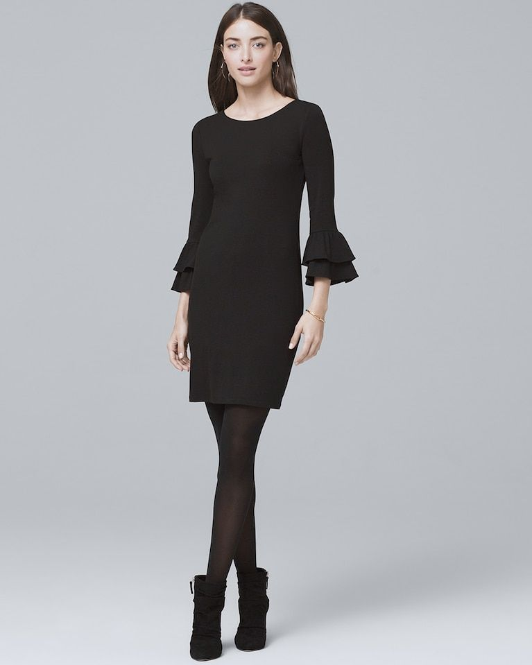 shift dress with tights and booties