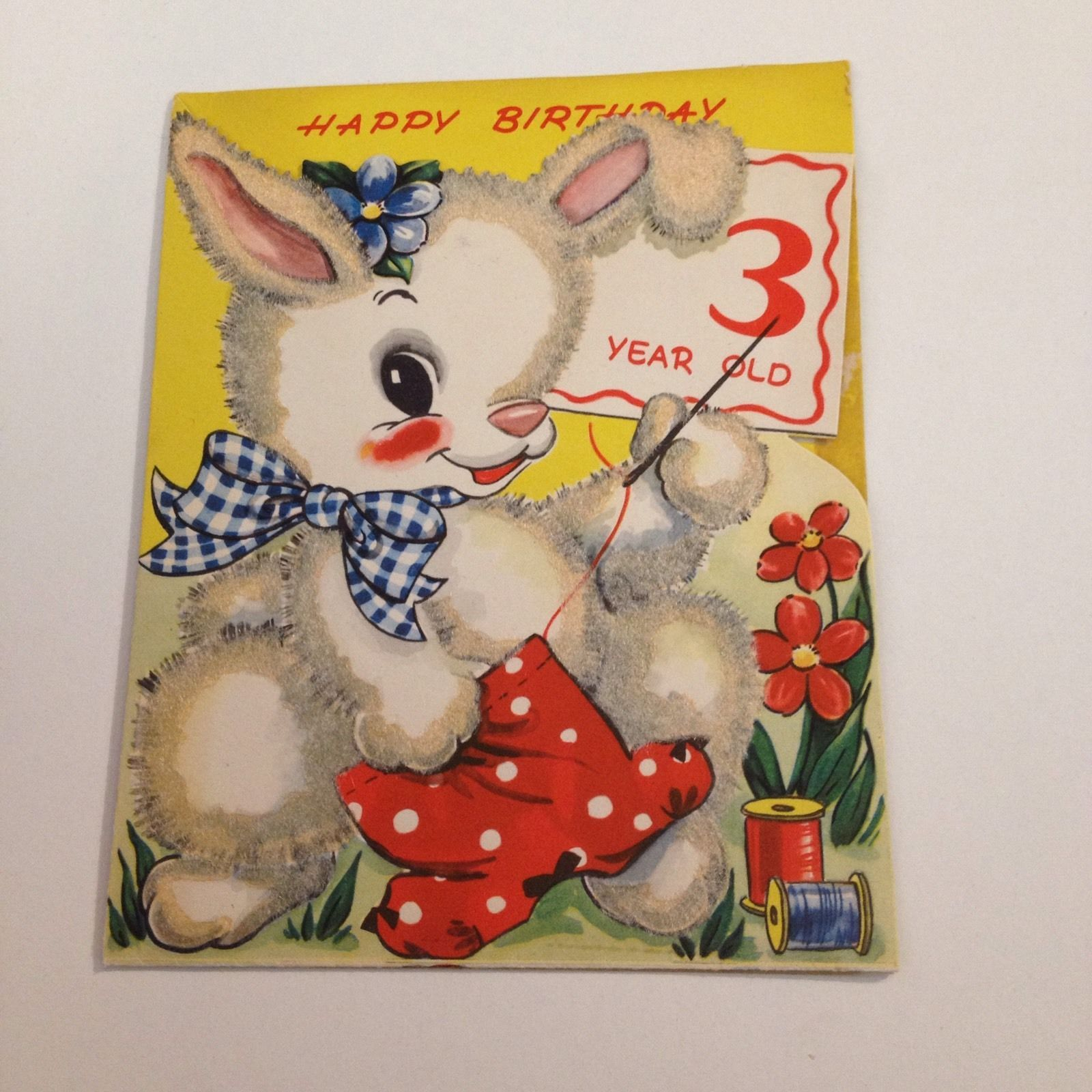 Vintage Greeting Card Birthday 3rd Bunny Rabbit Sewing