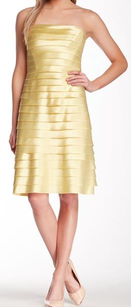 pretty strapless yellow dress