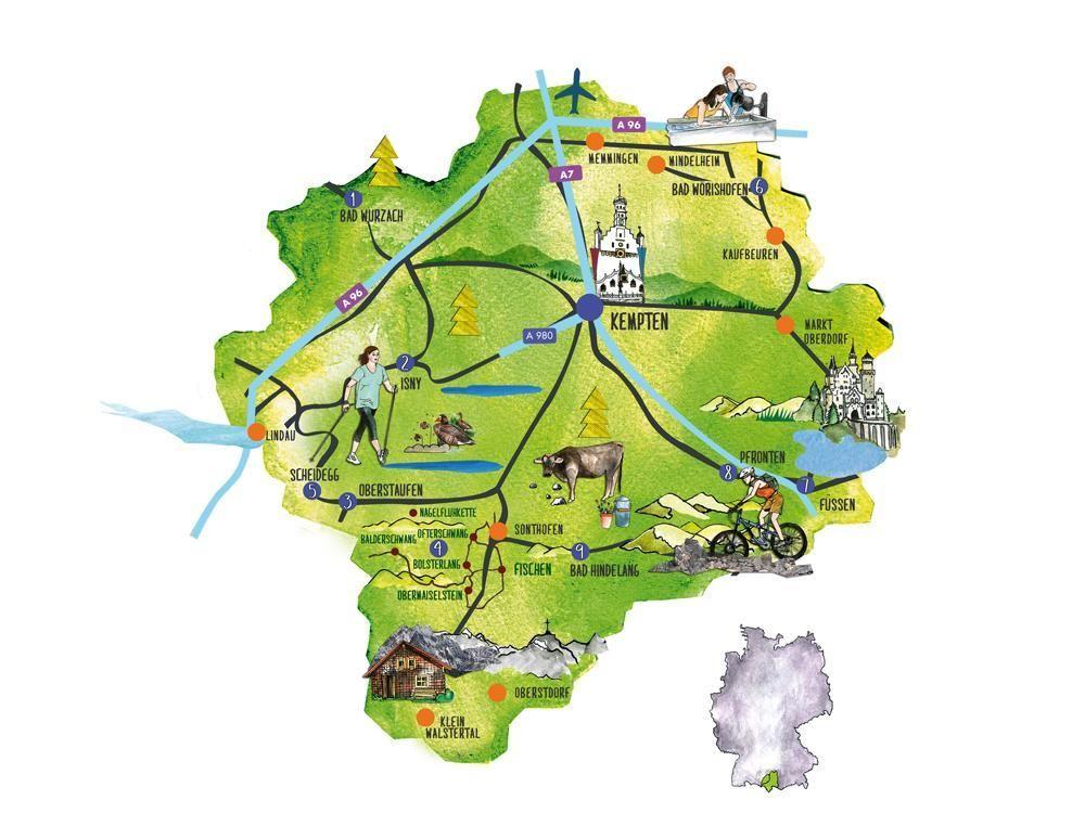 Allgau Karte Urlaub Reisen Allgau Karte