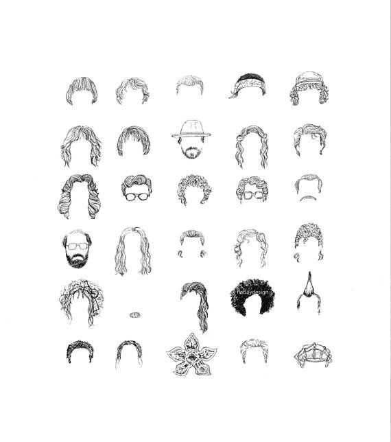 530177dc6ff ... Characters   Hats   Heads Art Print eleven mike barb nancy sketch  illustration drawing minimal movie film tv poster art print black and white  line ...