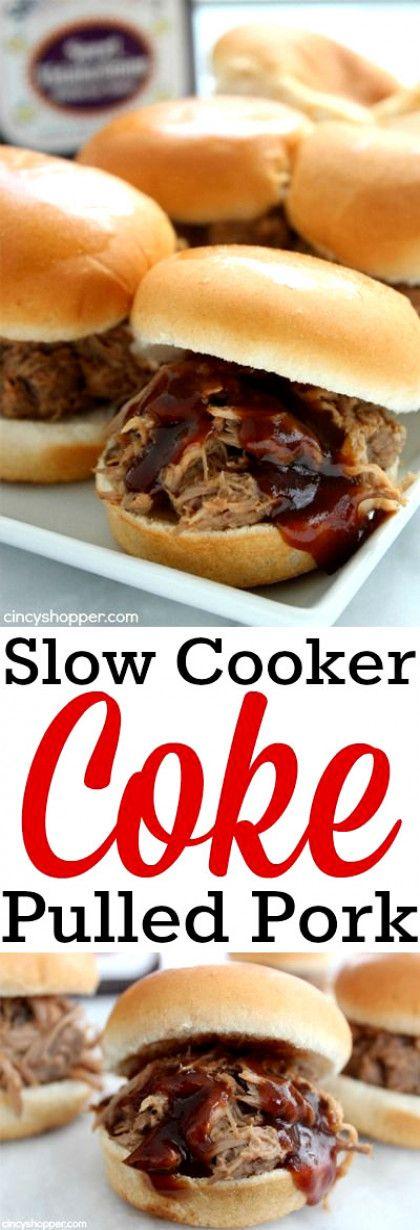 Slow Cooker Coke Pulled Pork #slowcookercrockpots