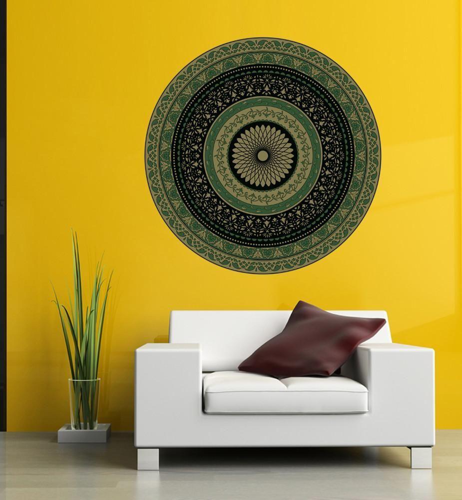 cik1405 Full Color Wall decal Mandala green living room bedroom yoga ...