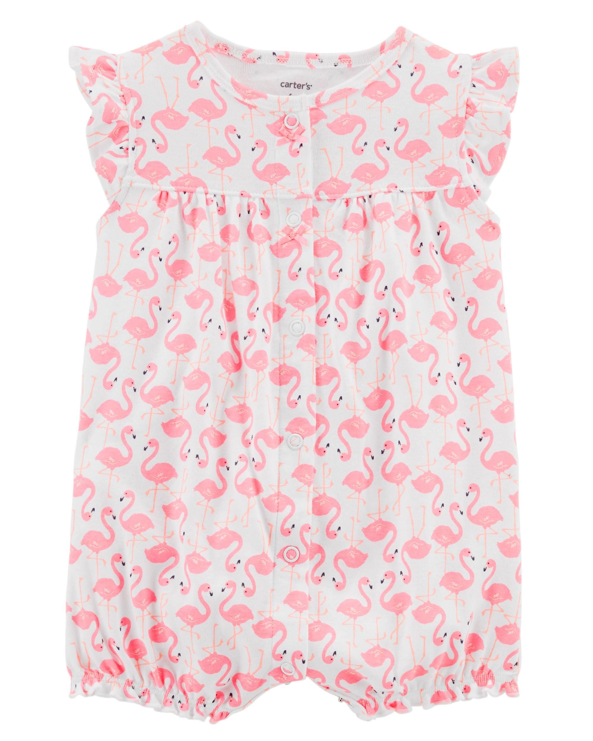 255baa40a0c5 Flamingo Snap-Up Cotton Romper
