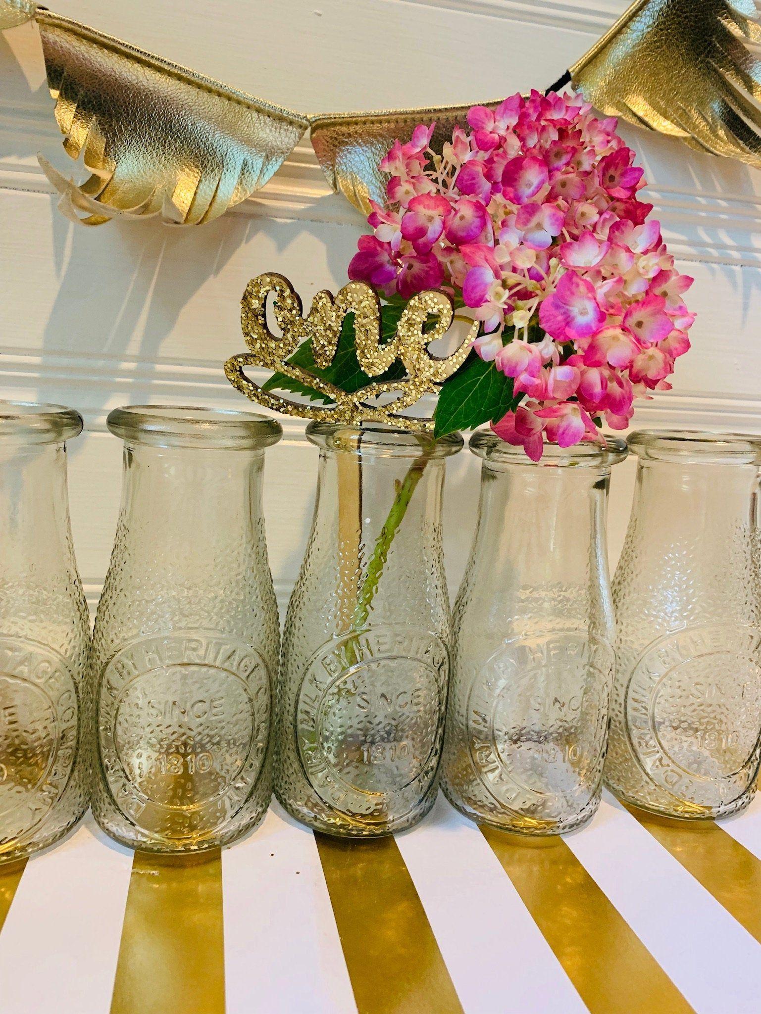 Retro Vintage Small Milk Bottle Bud Vases Bulk Wedding Centerpieces Cheap Glass Vases Small Milk Bottles Glass Vases Centerpieces