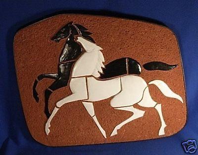 Große Keramik Platte 2 Pferde Schwarz Weiß Black White | eBay