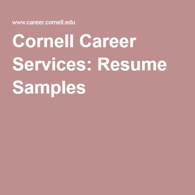 Cornell Career Services Resume Samples Creating a Functional - cornell sample resume