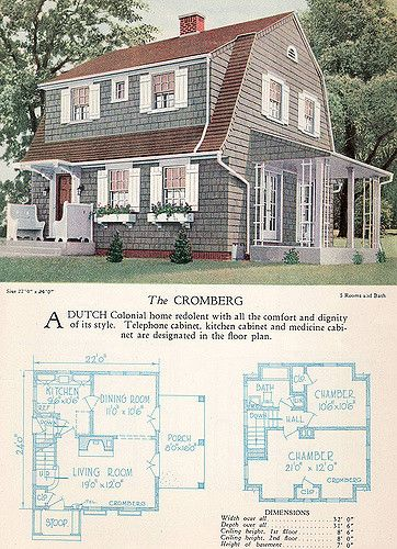 1928 Home Builders Catalog The Cromberg Dutch Colonial Homes Dutch Colonial Vintage House Plans