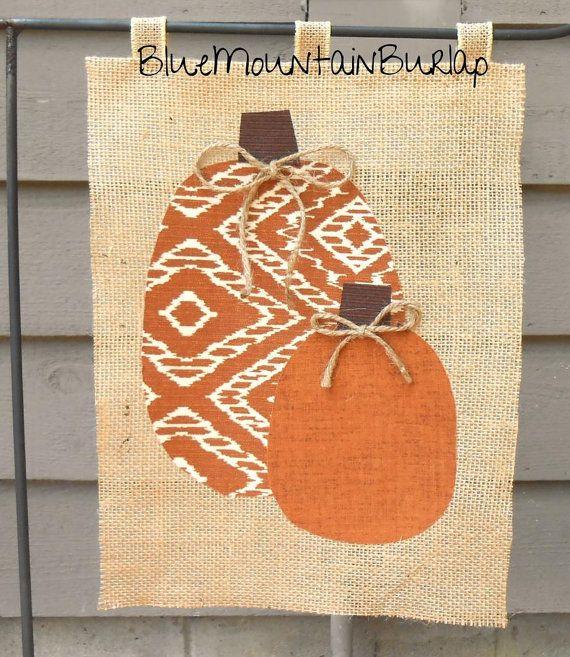 fall garden flags. Burlap Pumpkins Garden Flag Outdoor By BlueMountainBurlap Fall Flags