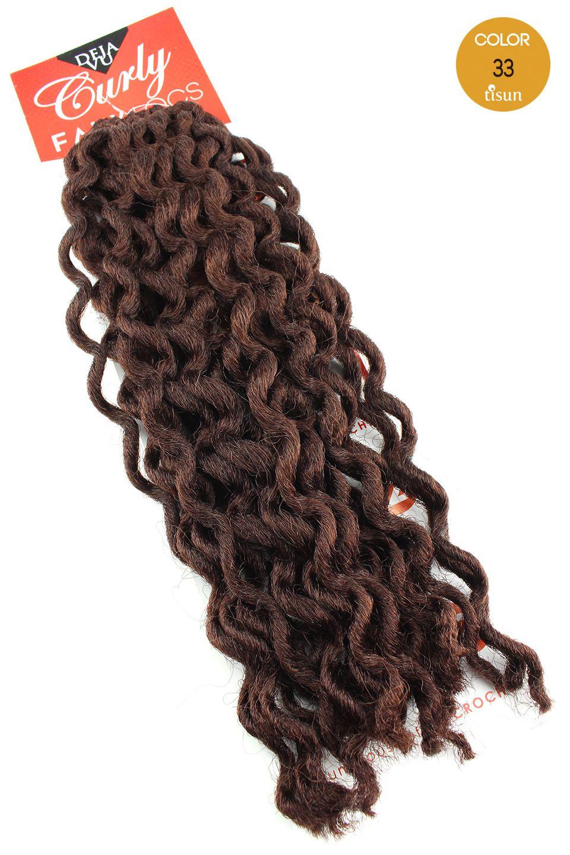 Deja Vu Curly Faux Locs Crochet Braiding Hair Color 33 Dark Auburn