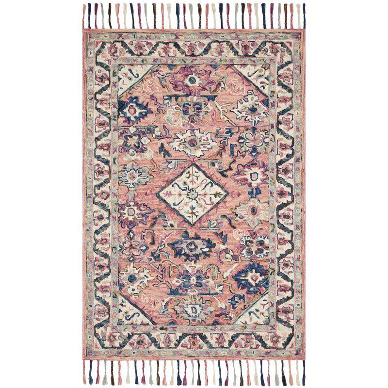 Bracamonte Oriental Hand Hooked Wool Pink Blue White Area Rug Wool Area Rugs Hooked Wool Area Rugs
