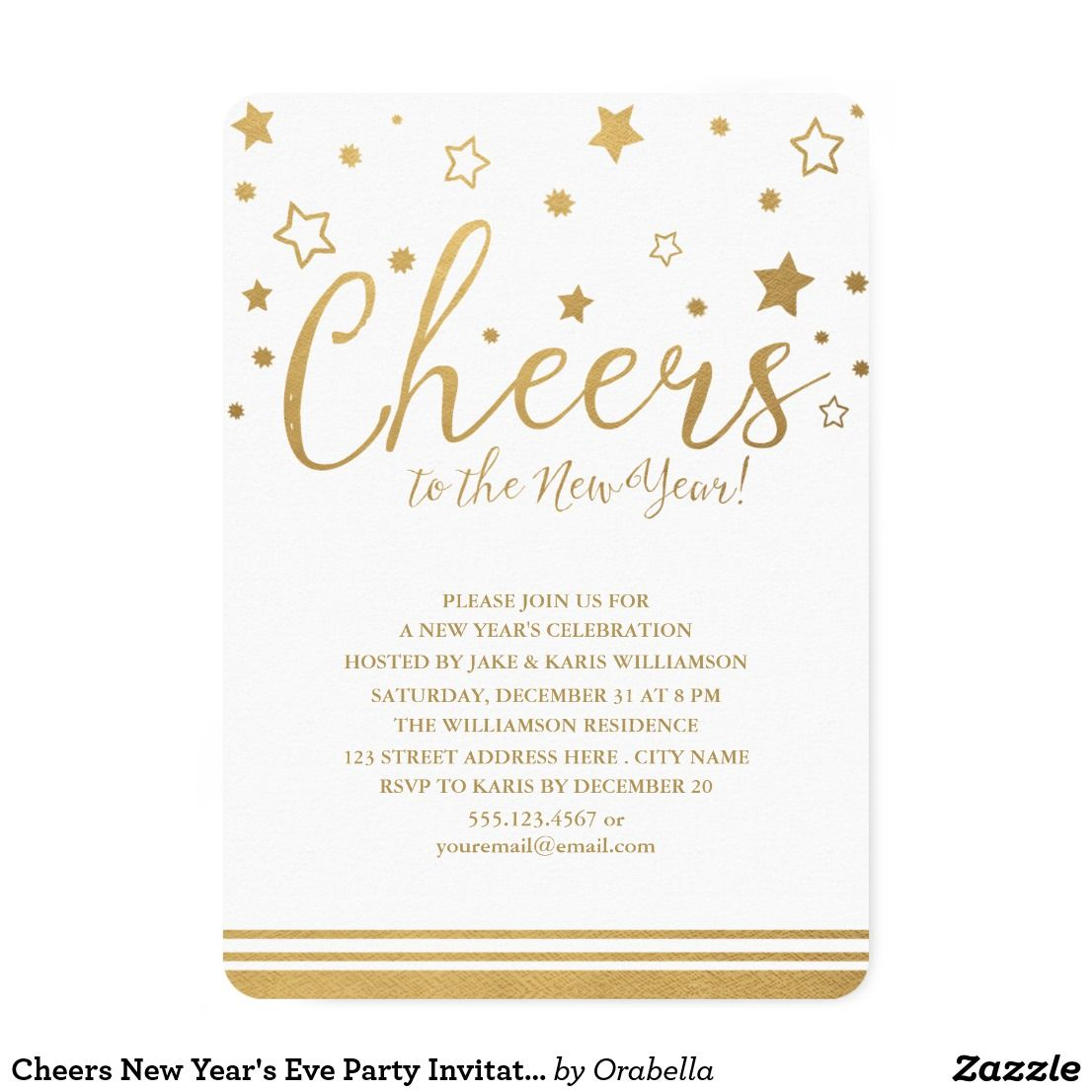 Cheers New Year\'s Eve Party Invitation | Invitation cards ...
