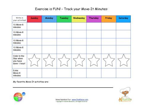 Great Way To Keep Track Of The Kids Daily Exercise. Printable